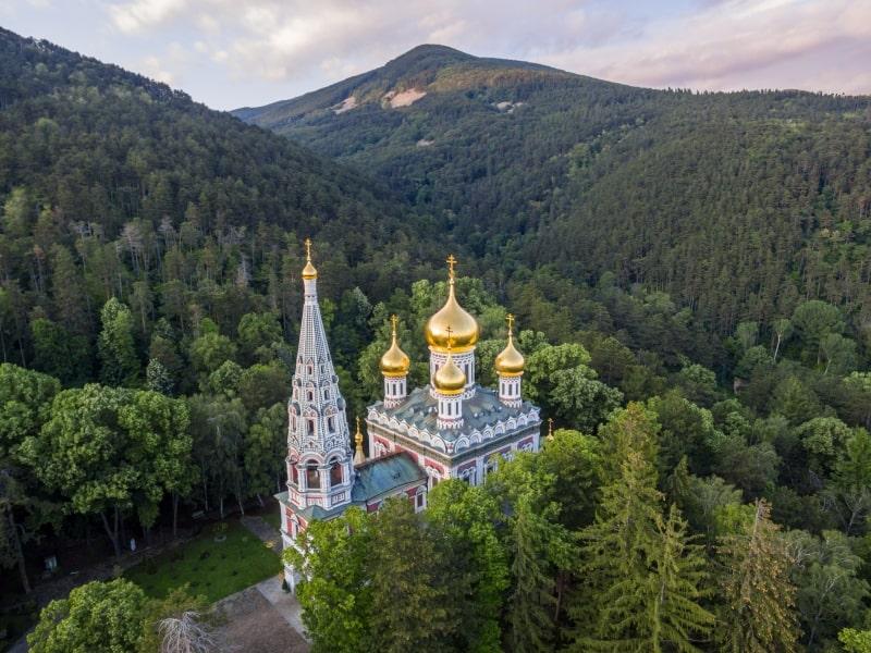 Luftaufnahme der Gedenkkirche
