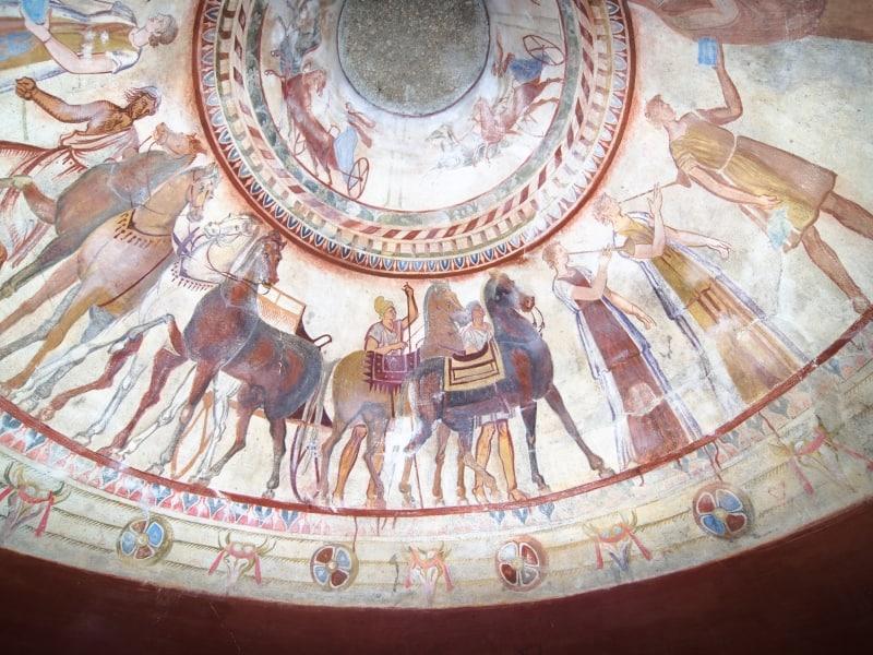 Fresko - Detailansicht im Grab eines thrakische Königs, Kazanlak, Bulgarien/Thrakergrab von Kasanlak