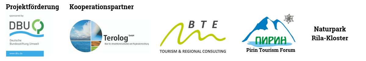 Projektförderer DBU und Kooperationspartner Terolog GmbH, BTE Tourismus & Regional Consulting, Pirin Tourism Forum und Naturpark Rila-Kloster