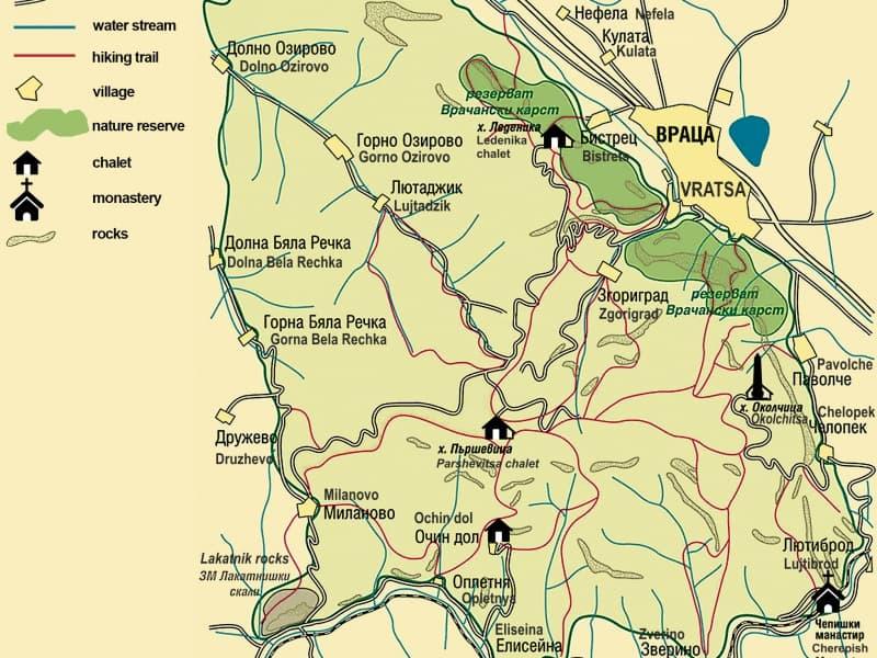 Karte des Naturparks Vrachanski Balkan