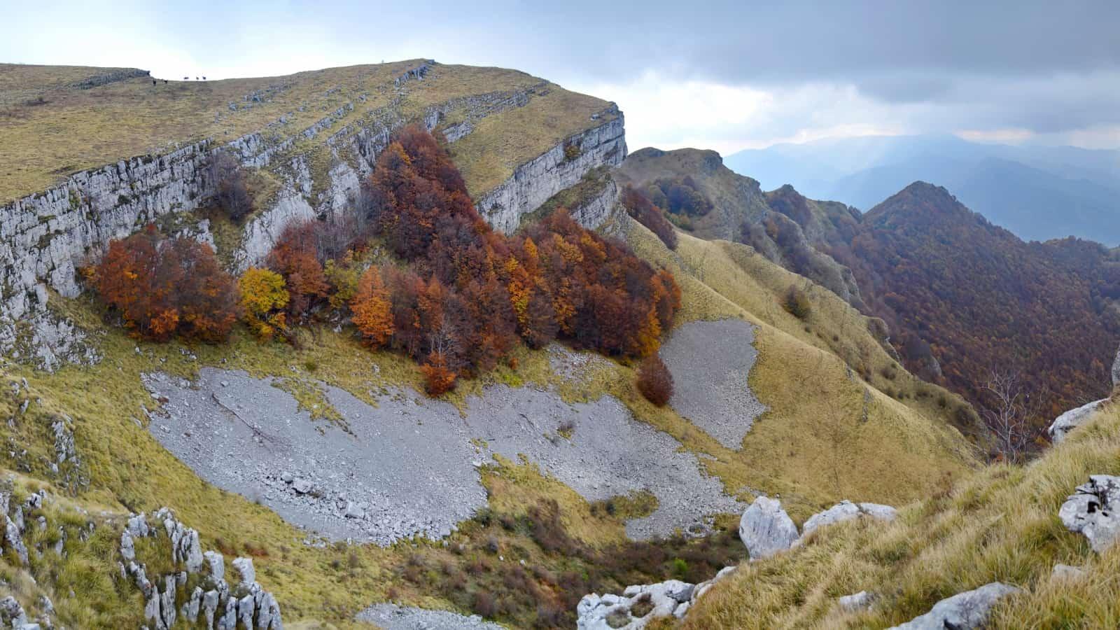 Buchen mit herbstlicher Laubverfärbung unterhalb des Bergrückens der Mare Wand - Panoramaaufnahme - Foto: Vrachanski Balkan Naturpark/Krasimir Lakovski